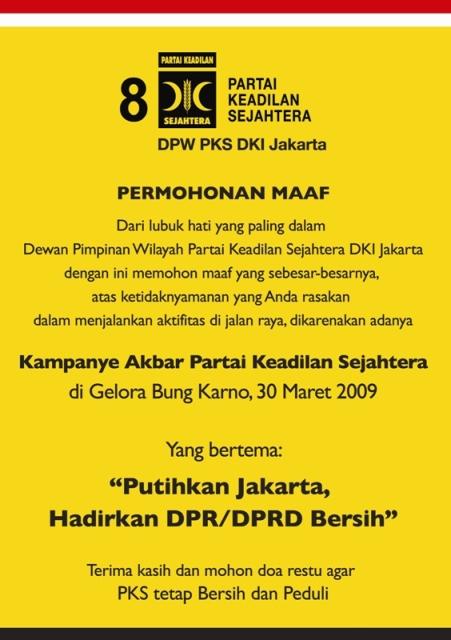 Permohonan Maaf PKS Kepada Warga Jakarta